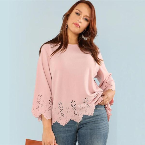 Top Round Neck Three Quarter Length Flounce Sleeve Plus Size Blouse Women  Pink Top-Women Clothing-Come4Buy eShop