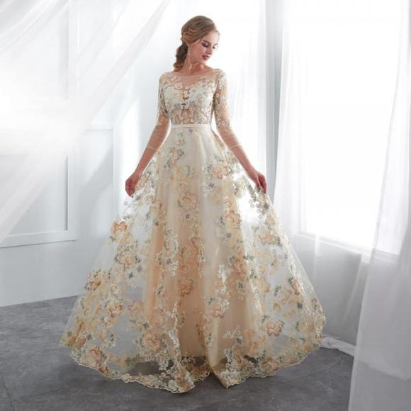 Floral Prom Wedding Dresses