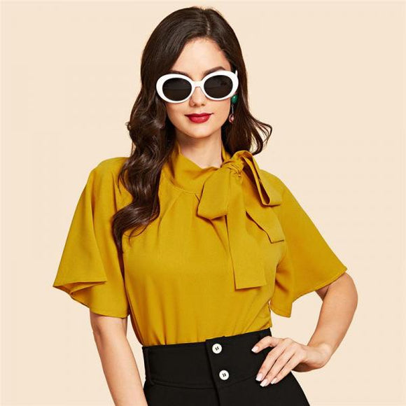 Ginger Yellow Vintage Elegant Office Lady Flutter Sleeve Tie Neck Half Sleeve Blouse-Women Clothing-Come4Buy eShop