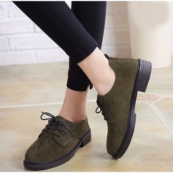 Autumn Retro Low Heel Shoes Woman Lace Up Suede Female Platfrom Comfortable Elegant Ladies Fashion Classic Footwear