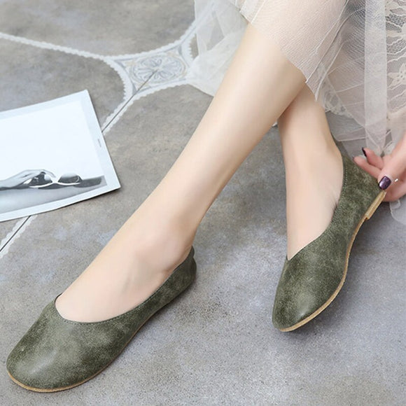 Autumn Women Flat Shoes PU Slip On Shallow Ladies Loafers Casual Comfort Ballet Flats Soft Fashion Retro Female Moccasins