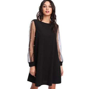 Elegant Womens Dresses Pearl Beading Mesh Sleeve Tunic Dress Autumn Black Boat Neck Long Sleeve A Line Dress-Women Clothing-Come4Buy eShop