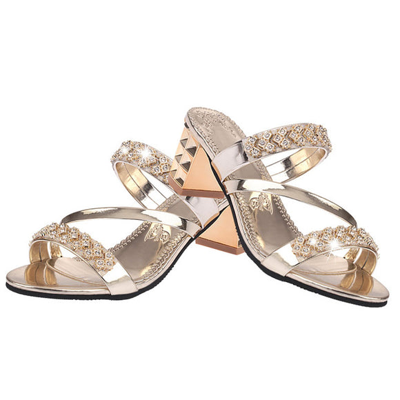 Heels 7cm Summer Women Shoes Squre Heel Sandals Peep toe Ladies Shoes Brand High Heel Sandals Gold Big Size-Women Sandals Shoes-Come4Buy eShop