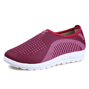 Vulcanized Shoes Autumn Mesh Flat With Loafers Plus Size Cotton Women Flats Casual Comfortable Walking Stripe For Female
