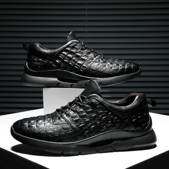 British Fashionable Crocodile Pattern Men Sneaker Lace-up Luxury  Shoe Genuine Leather Casual Loafer-Men Shoes-Come4Buy eShop