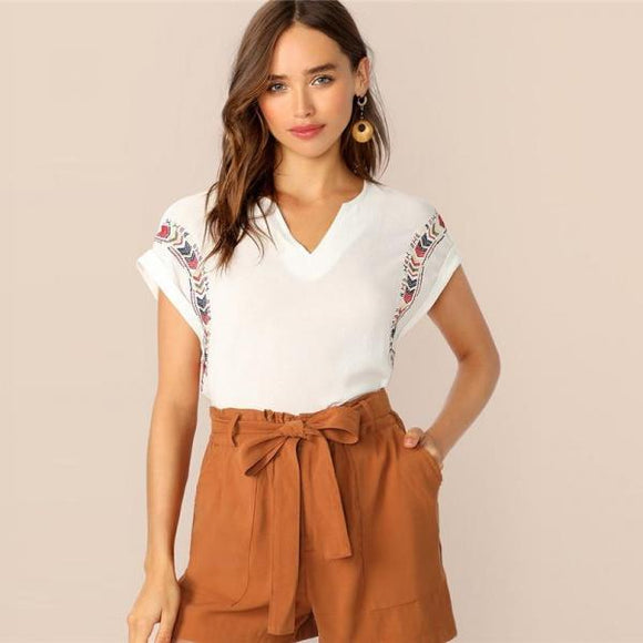 Boho White Short Cuffed Sleeve Embroidered Crepe Top V-Neck Blouse Women Summer Solid Casual Ladies Tops and Blouses-Women Clothing-Come4Buy eShop