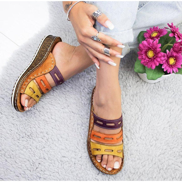Women Slippers Ladies Hollow Out Mixed Colors Flip Flops Fashion Sewing Wedge Sandals Cork Shoes Platform Female Slides