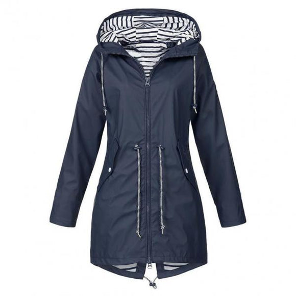 Women's Hooded Jackets Warm Wide Female Jackets Solid Rain Outdoor Jackets Waterproof Hooded Raincoat Windbreaker Big Size-Women Jacket-Come4Buy eShop