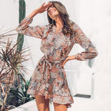 Elegant floral print women short shirt dress V neck long sleeve ruffle satin vestidos Spring casual plus size sundress-Women Clothing-Come4Buy eShop