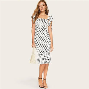 Elegant White Knotted Strap Polka-dot Mermaid Hem Summer Pencil Midi Dress Women Slim Bodycon Office Lady Ruffle Dresses-Women Clothing-Come4Buy eShop