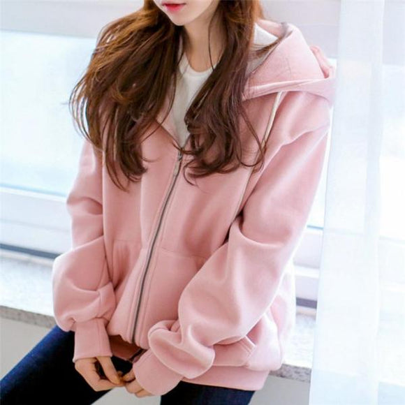 Women's Hooded Jackets 2019 Female Jacket Fashion Fleece Long Sleeve Loose Casual Zip Pockets Solid Jacket Coat Feminine Coat-Women Jacket-Come4Buy eShop
