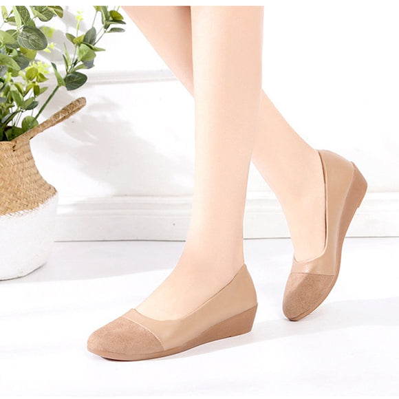 Women Flock Pumps Female Suede Shoes Slip On Round Toe Loafers Wedges Platform Shallow Ladies Fashion Autumn Footwear