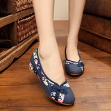 Peking Retro Flats Chinese Flower Embroidery Canvas Linen Shoes Sapato Feminino Size 35- 40-WOMEN SHOES-Come4Buy eShop