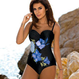Plus Size Swimwear Sexy One Piece Swimsuit Push Up Beach Wear Print Bathing Suit Backless Monokini Maillot de bain femme-Women Clothing-Come4Buy eShop