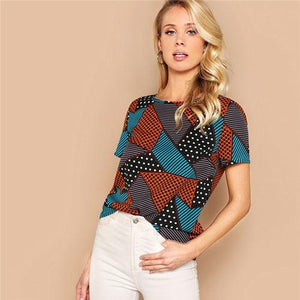 Geometric And Polka-Dot Print Women Tops And Blouses Lady Summer Multicolor Casual Streetwear Basic Blouse Woman Clothes-Women Clothing-Come4Buy eShop