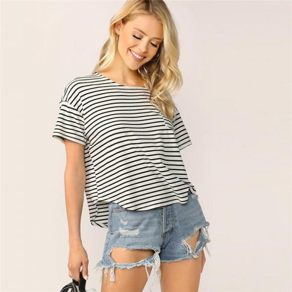 Casual Drop Shoulder Striped Tshirt Women Summer Basic Round Neck Short Sleeve-Women Clothing-Come4Buy eShop