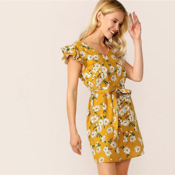 Ginger Yellow Cuffle Trim Daisy Print Belted V Neck Summer Dress Women Cap Sleeve Shirt-Women Clothing-Come4Buy eShop
