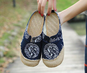 Women Linen Slippers Chinese Vintage Soft Flats Toe Cotton Canvas Fabric Shoes Woman Plus Size 44-[product_type]-Come4Buy eShop
