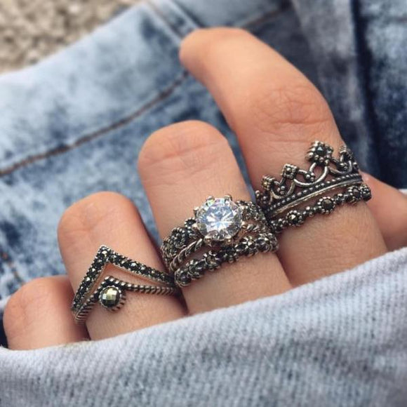 7 Pcs/set Crown Heart Crystal Ring Set Vintage Knuckle Rings for Women Punk Silver Boho Finger Jewelry Wedding Party Accessories-Rings-Come4Buy eShop