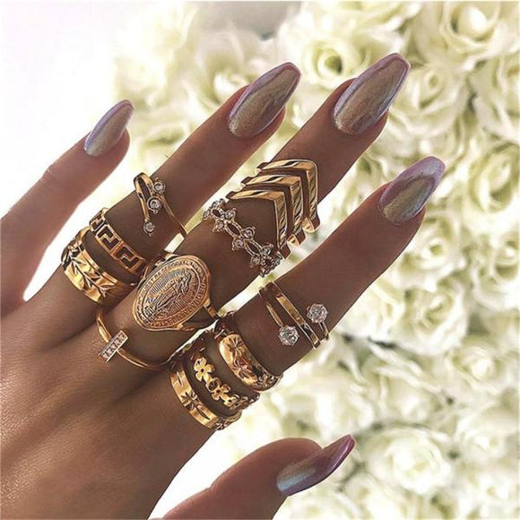 13 Pcs/set  Mother's Day Gifts Women Fashion Virgin Mary Geometric Flowers Leaf Gold Finger Rings Boho Charm Jewelry Accessories-Rings-Come4Buy eShop