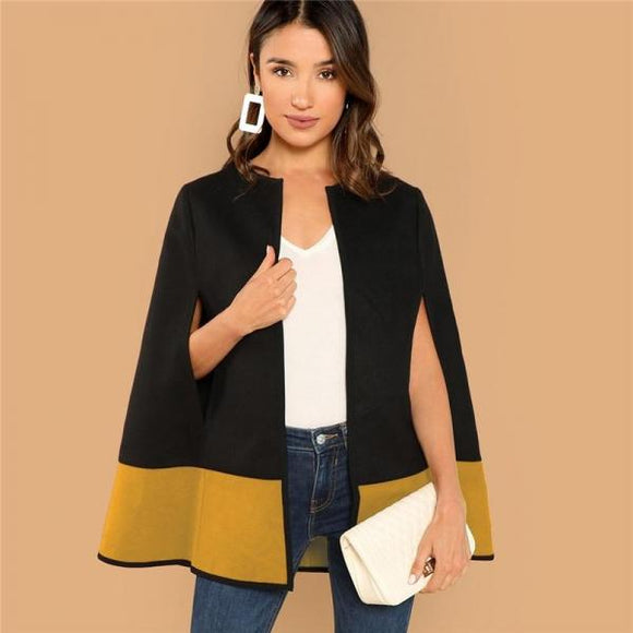 High Street Elegant Two Tone Open Front Cloak Sleeve Cape Plain Solid Coat Women Modern Lady Streetwear Cape Coats-Front Cloak Sleeve-Come4Buy eShop