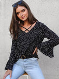 Summer V-neck Flare Sleeve Chiffon Blouse Women Blusas Casual Polka Dot White Womens Tops and Blouses-Women Clothing-Come4Buy eShop