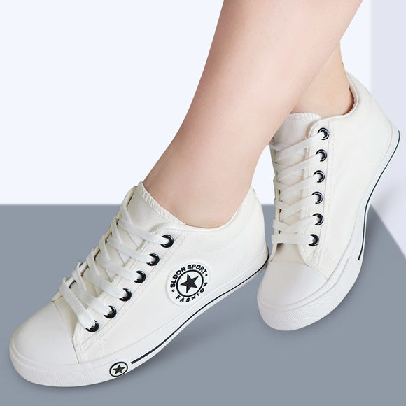 Vulcanize shoes wedge sneakers Women Trainers Summer Canvas Shoes White Sneakers Femme Lace-Up Ladies Footwear zapatillas mujer-Women Sneakers Shoes-Come4Buy eShop