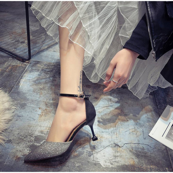 High Heels Shoes Female Sexy Two Pieces Ankle Buckle Strap Woman Bling Pumps
