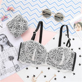 Hot Sale Luxury 1/2 Cup Sexy Girl Intimates Push Up Bra Set Underwear Floral Embroidery Lace Deep V Women Bra Panty-[product_type]-Come4Buy eShop