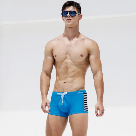 New Horizontal Stripes Swimwear Men Sexy Man Swimwear Swimsuits Summer Beachwear Men's Swimming Trunks For Bathing With Pad-[product_type]-Come4Buy eShop