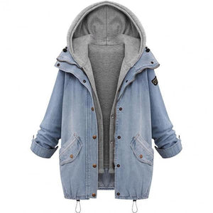 Women Denim Jacket With Fur 2019 New Fashion Warm Collar Women's Hooded Jackets Coat Jacket Denim Trench Parka Outwear-Women Jacket-Come4Buy eShop
