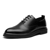 Men Brogue Dress Shoes Lace-up Breathable Casual Business Leather Shoes British Elegant-Men Shoes-Come4Buy eShop