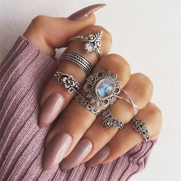 8 Pcs/set Silver Ring Set Bohemian Retro Women Opal Flower Leaves Rhinestone Crown Geometric Valentine's Day Gift Accessories-Rings-Come4Buy eShop