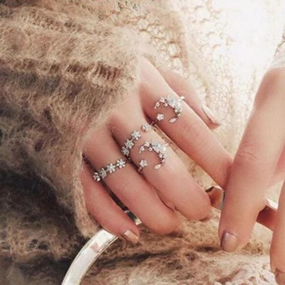 5 Pcs/set Crystal Moon Star Hollow Punk Personality Silver Open Ring Women Fashion Bohemia Retro  Wedding Anniversary Gift-Rings-Come4Buy eShop