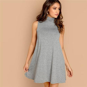 Grey High Neck Sleeveless Women Dress Autumn Modern Lady A-Line Dress Heathered Knit Trapeze Hem Casual Weekend Dress-Women Clothing-Come4Buy eShop