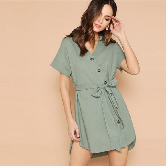 Green Button Up Curved Dip Hem V Neck Knot Shift Plain Women Short Sleeve Dress-Women Clothing-Come4Buy eShop
