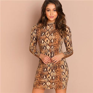 Brown Party Sexy Snake Skin Mock Neck Long Sleeve Skinny Short Dress Autumn Club Elegant Modern Lady Women Dresses-Women Clothing-Come4Buy eShop