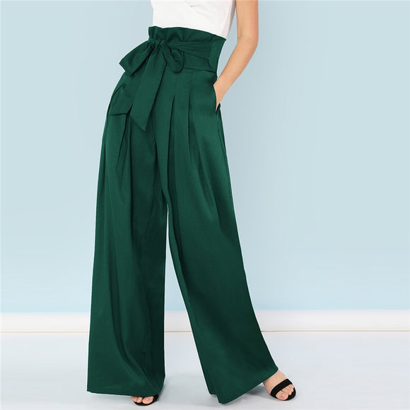 Green Elegant Office Lady Self Belted Box Pleated Palazzo High Waist Minimalist Wide Leg Pants Autumn Casual Trousers-Women Clothing-Come4Buy eShop