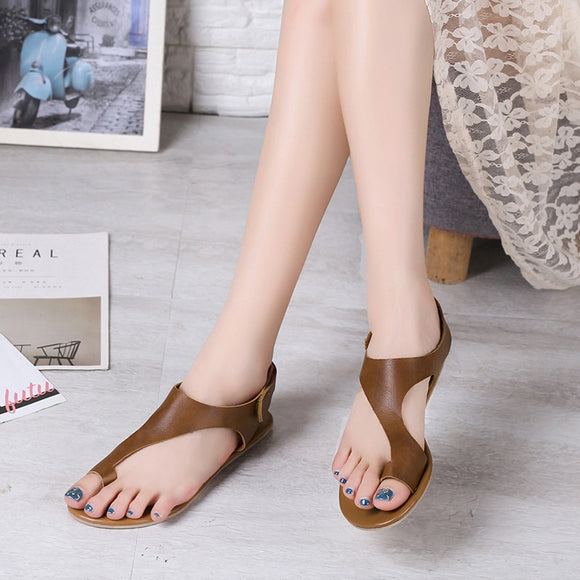 Summer Shoes Woman Sandals PU Leather Open Toe Beach Gladiator Sandals Women Rome Casual Flat Sandals Sandalias Mujer