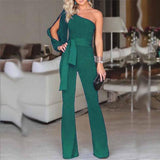 Women Summer Casual Solid Long Sleeve Cold Shoulder Jumpsuit-Women Clothing-Come4Buy eShop