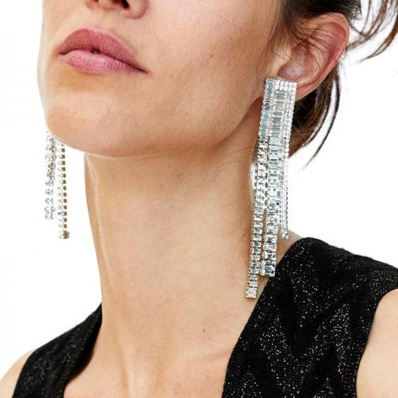 Wedding Crystal Tassel Beads Earrings 2019 Bridal WomenLong Dangle Drop Earrings Party Jewelry-EARRINGS-Come4Buy eShop