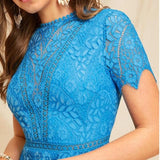Blue Open Back Guipure Lace Short Dress C4B Summer Women Round Neck A Line High Waist Fit And Flare Elegant Dresses-Women Clothing-Come4Buy eShop