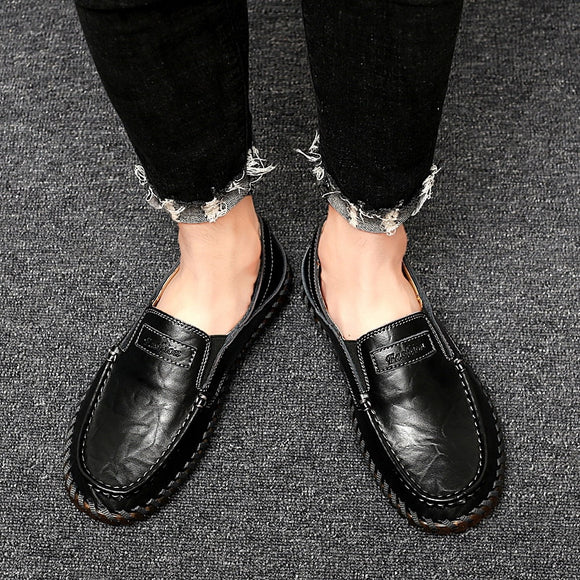 Autumn 2019 Big Size Men Leather Casual Shoes Handmade Men Loafer Shoes Men Flats 39-48-Men Shoes-Come4Buy eShop