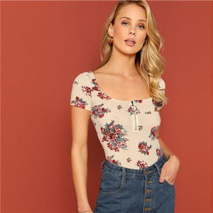 Flower Print Slim Fitted O-ring Zipper Tee Scoop Neck Short Sleeve T Shirt Women Casual Tops-Women Clothing-Come4Buy eShop