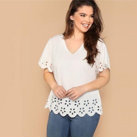 White Plus Size Scallop V Neck Plain Top Blouse Women Casual Spring Butterfly Sleeve Top Blouse-Women Clothing-Come4Buy eShop