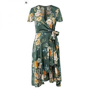 Elegant floral print satin women dress Wrap v neck high waist summer dresses Sexy bow tie green casual female vestidos-Women Clothing-Come4Buy eShop