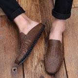 Mens House Shoes Men Male Footwear Cozy Flat Shoe Casual Leisure Son Male Faux Leather Shoes-Men Shoes-Come4Buy eShop