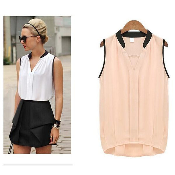 Summer Chiffon Blouses Women Plus Size Loose Sleeveless Vest Pactwork White Pink V-Neck Tops Office Lady Blouse Shirts