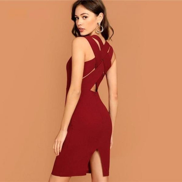 Burgundy Plunging Neck Pencil Dress Solid Sleeveless V Neck Bodycon Dress Elegant Party Autumn Modern Lady Women Dresses-Women Clothing-Come4Buy eShop