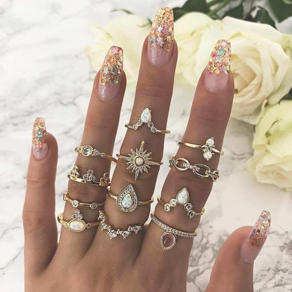 12 Pcs/set Bohemian Vintage Crown Water Drops Stars Geometric Crystal Ring Set Women Charm Joint Ring Party Wedding Jewelry Gift-[product_type]-Come4Buy eShop